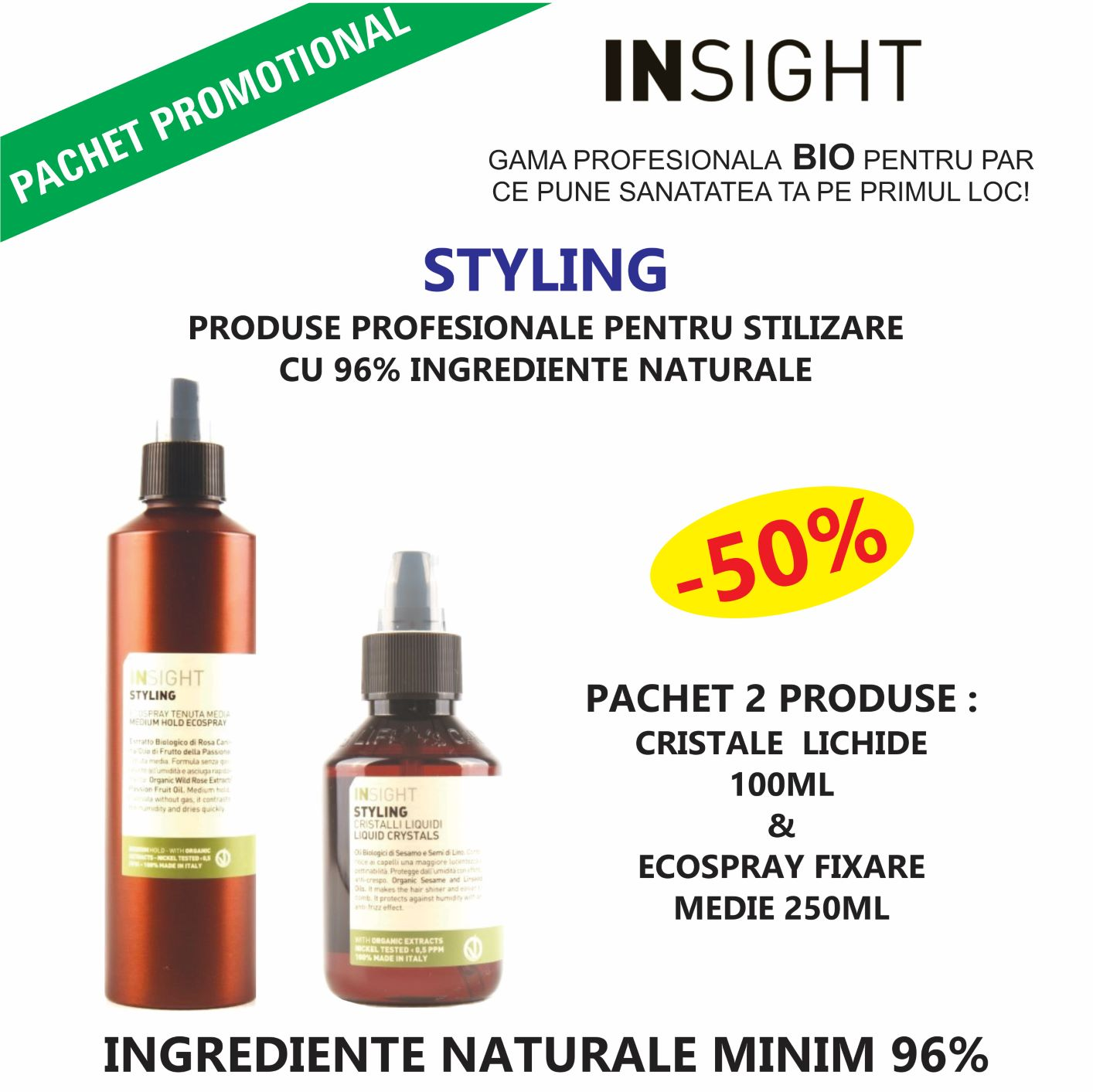KIT 2 PRODUSE STYLING CU 96% INGREDIENTE NATURALE